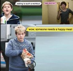 niall horan, louis tomlinson, lou, tommo, nialler and his love of food, happy meal, one direction, 1D