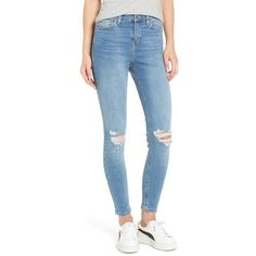 TOPSHOP Moto Jamie Ripped High Waist Ankle Skinny Jeans (57 CAD) ❤ liked on Polyvore featuring jeans, ripped skinny jeans, high waisted ripped jeans, high rise skinny jeans, ripped jeans and blue jeans