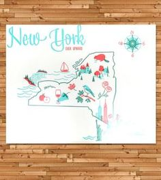 Vintage-Inspired New York Map Print