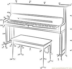 Silent Upright Piano Connect Dots - Printable Coloring Pages Music Lessons For Kids, Piano Lessons, Music Basics, Mazes For Kids, Music Worksheets, Upright Piano, Piano Teaching, Music Activities, Connect The Dots