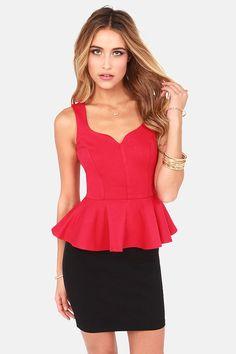 My Kind of Night Red Peplum Top at LuLus.com! $31.00 #lulus #holidaywear #Christmas