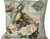 Crowned Bird & Blossoms  in Choice of 14x14 16x16 18x18 20x20 22x22 24x24 26x26 inch Pillow Cover