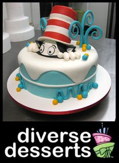 Cat in the Hat (cake)-loves it. Cat in the hat! Fondant Cakes, Cupcake Cakes, Dr Suess Cakes, Hat Cake, Character Cakes, Just Cakes, Occasion Cakes, Fancy Cakes, Creative Cakes