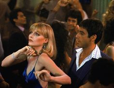 "Michelle Pfeiffer as Elvira Hancock & Al Pacino as Tony Montana in ""Scarface"" ✨ directed by Brian De Palma Flirting Quotes For Her, Flirting Tips For Girls, Flirting Memes, Elvira Hancock, Al Pacino Michelle Pfeiffer, Awkward Funny, Husband Humor, Girl Quotes, Grease"