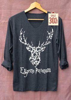 Expecto Patronum camisa Estimado Harry Potter camisas negro manga larga Unisex adultos talla S M L XL