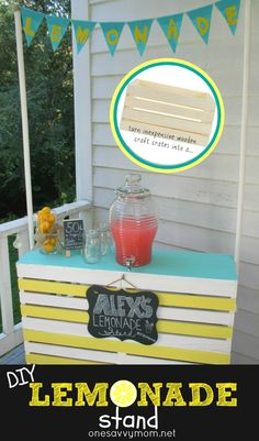 One Savvy Mom ™   How to Build a Easy DIY Lemonade Stand with Wooden Craft Crates - 4 wooden craft crates joined together with a plywood counter top + dowels to hang simple pennant banner. Crates create concealed storage behind the stand -Holding our stand to benefit  Alex's Lemonade Stand Foundation for childhood cancer this weekend at our local A.C. Moore during Lemonade Day's #Stir4TheCure  ...