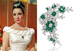 "An emerald-and-diamond flower brooch, by Bulgari, 1960, gift from Richard Burton.   ""I introduced Elizabeth Taylor to beer and she introduced me to Bulgari."" - Burton"