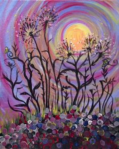 Swirly Dandelions at Mt.Lebanon Pub and Pizza Paint Nite Pittsburgh 06/03/2015
