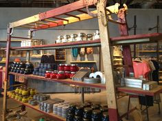 """Great use of old ladders that are weathered and have character...Antropologie in the old """"industrial"""" section of Atlanta. What a GREAT & INSPIRING store."""