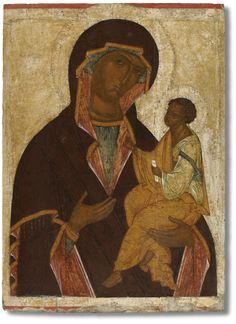 Icon of the Virgin Hodegetria (Georgian). End of the XV century. Religious Images, Religious Icons, Religious Art, Mother Mary Images, Images Of Mary, Madonna, Early Christian, Christian Art, Black Jesus