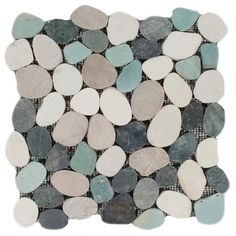Durian River Flat Pebble Stone Mosaic - 12in. x 12in. - 100101039   Floor and Decor