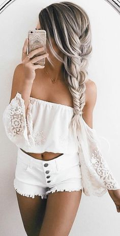 #summer #girly #outfits | Lace + Denim
