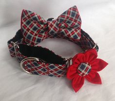 Martingale Dog Collar Flower And Bow Tie by chiwawagearharnesses