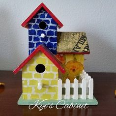 "Hand Painted Brick-Look Triple Birdhouse, ""Floral Iris"" Decoupage Designed Birdhouse, Decorative Birdhouse, Patio Decor Bird Houses Painted, Decorative Bird Houses, Painted Birdhouses, Birdhouse Designs, Birdhouse Ideas, Art For Kids, Kid Art, Craft Sale, Little Houses"
