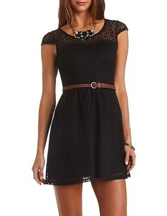 Cap Sleeve Belted Lace Dress: Charlotte Russe