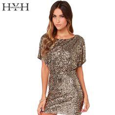 HYH Sheath Gold Club Dress Batwing Sleeves Sequins Women Dresses Key Hold Back Design HAOYIHUI 142518113