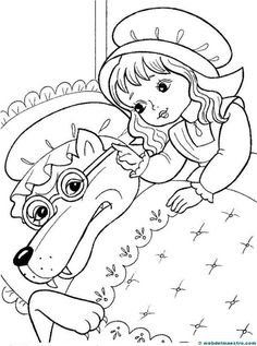 Caperucita Roja-7 Pattern Coloring Pages, Bible Coloring Pages, Cute Coloring Pages, Coloring Books, Paper Flowers For Kids, Mickey Mouse Images, Kindergarten Art Lessons, Line Art Images, Line Art Vector