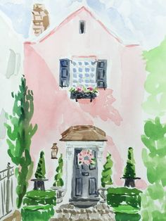 Watercolor painting of pink house in Charleston. Watercolor Print, Watercolor Paintings, Watercolors, Watercolor Artists, Abstract Paintings, Oil Paintings, Landscape Paintings, House Paintings, Watercolor Design