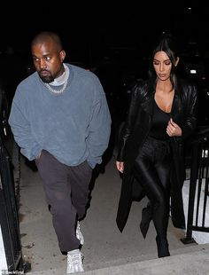Casual: Kanye also dressed down for the dinner date in an oversized blue sweater and tracksuit pants Kim Kardashian Kanye West, Kim And Kanye, Kardashian Style, Kardashian Jenner, Kylie Jenner, Kanye West Outfits, Kanye West Style, Kanye West Songs, Tracksuit Pants