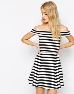 Bardot Skater Dress In Stripe