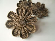 Hey, I found this really awesome Etsy listing at https://www.etsy.com/listing/188157208/3-kanzashi-burlap-flowers-rustic-wedding