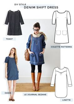 DIY Style - Denim Shift Dress (patterns for purchase) Diy Clothing, Sewing Clothes, Clothing Patterns, Dress Patterns, Shift Dress Pattern, Dress Sewing, Diy Dress, Denim Fashion, Look Fashion
