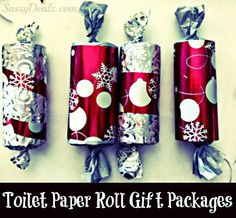 DIY Toilet Paper Roll Christmas Gift Boxes/ Packages For a Kids Craft #Christmas craft for kids | CraftyMorning.com