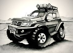 Gerelateerde afbeelding Nissan Patrol Y61, Patrol Gr, Nissan 4x4, Bull Bar, Caricature, Cars And Motorcycles, Offroad, Monster Trucks, Camper Ideas