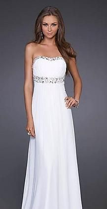 Fashion Tube White A-Line Long Chiffon Prom Dress kaladress10064
