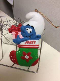 JOKEY Smurf Christmas Ornament Vintage 1983 Ceramic Stocking    eBay