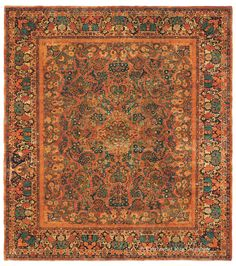 MAHAJIRAN SAROUK - West Central Persian 11ft 3in x 12ft 6in Circa 1925  Expressive tangerine accents are but one of the joyful, unexpected elements of this spirited vintage Mahajiran Sarouk