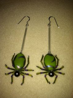 Beaded Spider Earrings  Green & Purple by AmysBeadedCrafts on Etsy, $25.00