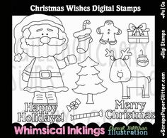 """Sunflower Friends Christmas Wishes Digital Stamps [Whimsical Inklings By Cheryl] - ** 11 Christmas Wishes ImagesSo fun to """"Color Yourself""""Made in 300 dpi for excellent printingArtwork by: Whimsical Inklings by Cheryl White Image, Christmas Wishes, Digital Stamps, Xmas Cards, Line Art, Image Graphic, Whimsical, Ink, Black And White"""