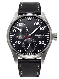 Montre Alpina Automatique Homme AL-950B4S6 - Cadran Acier Argent - Bracelet Cuir Noir
