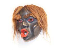 "Tsonaqua Mask by Beau Dick (Kwakwaka'wakw), red cedar, acrylic paint and horse hair, 11"" x 9"" x 4"""