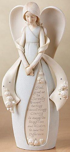 Information Online Foundations Serenity Prayer Angel Stone Resin Figurine, Ceramic Angels, Angel Prayers, I Believe In Angels, Serenity Prayer, Angels In Heaven, Christmas Angels, Christmas Décor, Cold Porcelain, Clay Creations