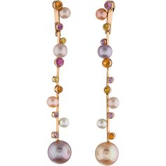 Lorenz Baumer Sapphire & Pearl Drop Earrings ($1,095) ❤ liked on Polyvore…