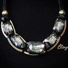 Collar de Piel negra y Cristales Modelo 0118 $150 www.facebook.com/BlingMx