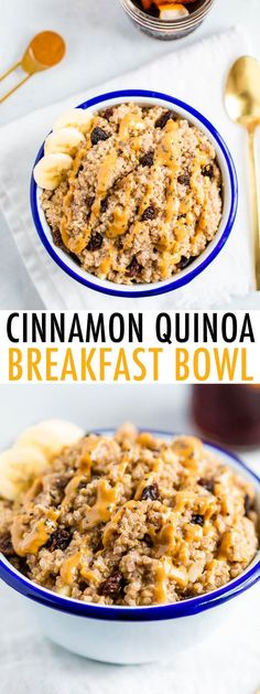 Have quinoa for breakfast with this easy cinnamon raisin quinoa breakfast bowl. It's vegan, gluten-free and the quinoa packs in a good amount of protein. Quinoa Recipes Easy, Healthy Breakfast Recipes, Brunch Recipes, Whole Food Recipes, Vegan Recipes, Cooking Recipes, Easy Vegan Breakfast, Pancake Recipes, Crepe Recipes