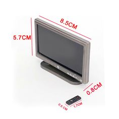1:12 Dollhouse Miniature Widescreen Flat Panel LCD TV Remote Gray Home Decor FB