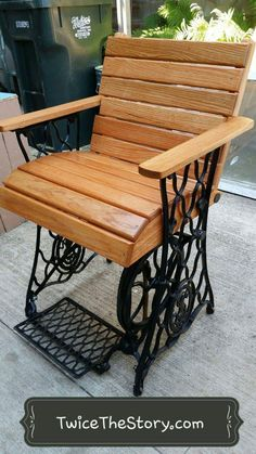 Singer sewer base repurposed into chair for our store grand opening! Singer sewer base repurposed in