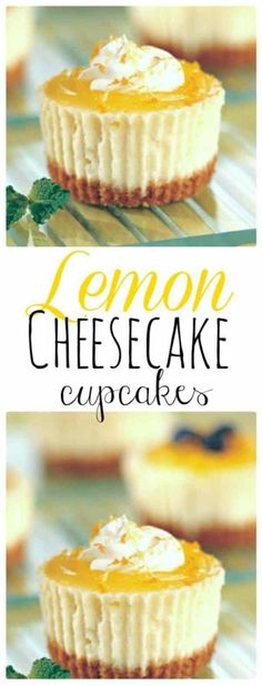 Cheesecake Cupcakes Mini Lemon Cheesecakes topped with lemon curd. The Flying Couponer Cheesecake Cupcakes Mini Lemon Cheesecakes topped with lemon curd. The Flying Couponer Mini Desserts, Brownie Desserts, Oreo Dessert, Lemon Desserts, Lemon Recipes, Easy Desserts, Sweet Recipes, Baking Recipes, Healthy Desserts