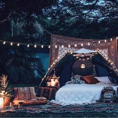 This feel but not this classy for the hippie camp! I dig the string of lights though