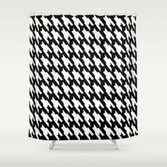 #Black And #White #Dogtooth Design #Shower #Curtain