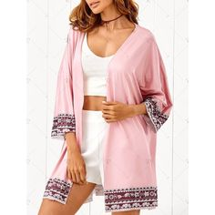 Bat Wing Sleeve Printed Beach Cover Up ($15) ❤ liked on Polyvore featuring swimwear and cover-ups