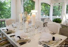 Airy Summer Table Setting with Mercury Glass Centerpiece | repinned by www.imagine.willowhouse.com