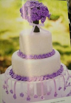 Fondant cake with purple flowers