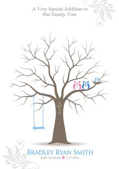 Baby Shower Thumbprint Tree Guest Book Poster with by TJLovePrints, $36.00