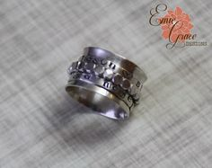 Sterling Silver Spinner Ring Stamped Bands by EmieGraceDesigns