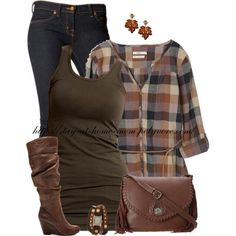 """Jessica"" by stay-at-home-mom on Polyvore Comfy casual and brown boots--what's not to want?!"